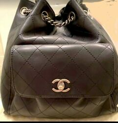 CHANEL Backpack authentic Black New Large $3600.00