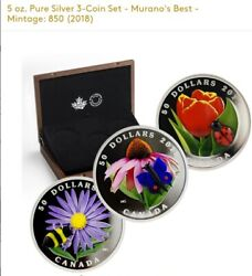 Royal Canadian Mint Tulip And Ladybug - 3 Coin Set - 5 Oz Pure Silver Coins - Rcm