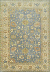 Oushak Rug 12and039x18and039 Blue/ivory Hand-knotted Wool Pile