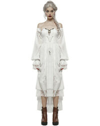 Punk Rave Victorian Steampunk Dress White Copper Cameo Long Sleeve Gothic Vtg