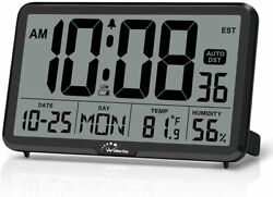 Digital Wall Clock Autoset Desk Clocks with Temperature Humidity and Date