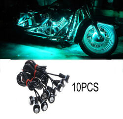 10pcs Small Ice Blue Led Black Dome Motorcycle-chopper-bobber Turn Signal Lights