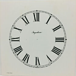 Antique Ingraham Replacement 5 Paper Clock Dial With Roman Numerals For Parts