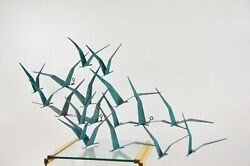 C. Jere Vintage 1987 Birds In Flight Rare Turquoise Wall Sculpture