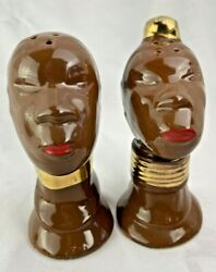 Vintage Amazing African Nubian Head Figural Salt And And Pepper Shakers Set