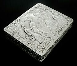 Excellent Antique Continental Silver Box C.1890 800 Grade Nicely Detailed