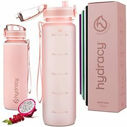 Hydracy Water Bottle With Time Marker - Large 1 Liter 32 Oz Bpa Free Water