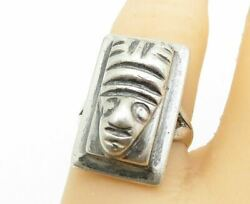 925 Silver - Vintage Antique Traditional Statue Head Band Ring Sz 5 - R10825