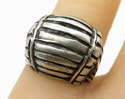 Mexico 925 Sterling Silver - Vintage Curved Wooden Barrel Band Ring - R4115