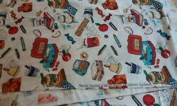 Vintage 1997 Timeless Treasures Fabric Lunch Boxes Sandwiches Pencils Over 3 Yd