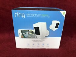 2 Pack Ring Spotlight Cam Battery Hd Security Camera Two-way Talk Alarm White