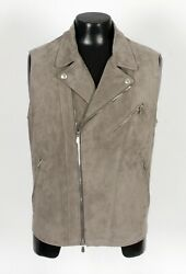 4250 Nwd - Brunello Cucinelli Suede Leather Moto Motorcycle Vest - Gray - M