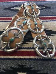 Native American Sterling Silver And Turquoise Sand Cast Concho Belt-1980