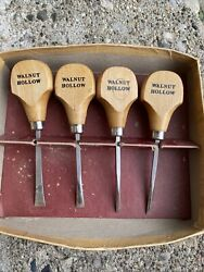 4 Vintage Walnut Hollow Quality Wood Working Carving Tools Chisels