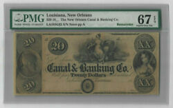 1800's Louisiana New Orleans Canal And Banking Co 20 Note - Pmg 67 Epq