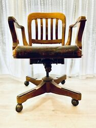 Vintage Sikes Company Swivel Bankers Chair W/ Leather Seat Rare Leans Back 1930