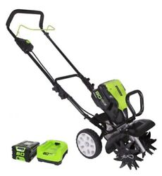 """Greenworks 80v 10"""" Cultivator And 2ah 80v Battery With Rapid Charger."""