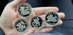2014 The Rise And Fall Of Bankster Proof 4 Round Set Silver Shield Group Sbss