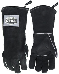 14 Insulated Heat Resistant Leather Bbq Gloves Expert Grill, Black Color