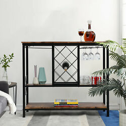 Wine Cabinet Bar Side Cabinet Buffet Dining Liquor Serving Storage Console Table