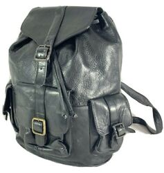 Latico Leather Products Great Vintage Black Leather Rugged Rucksack Backpack Bag