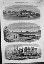 Antique Old Print Japan Palace Daimio Agasi Whaling Boat Harbour Osima 1864
