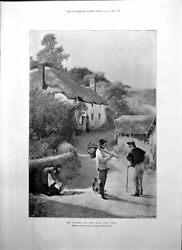 Old Print Weather And Crops John White Thatched House Man Basket Dog 1895 19th