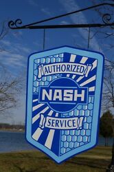 Old Style 2ft Nash Rambler Dealer Service Shield Thick Steel Sign Usa Made
