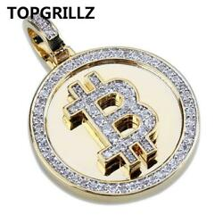 Unique Btc 24k Gold Plated Bitcoin Necklace Coin Aaa+cz Stone Hiphop Rock Style