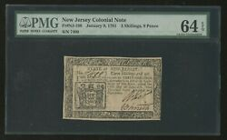 Nj-198 New Jersey Colonial Note 1/9/1781 Pmg 64 Epq Very Choice Unc Wlm9247