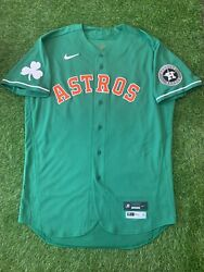 """Justin Verlander Houston Astros Game Used Issued Jersey """"st Patrick's Day"""" Mlb"""