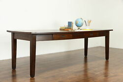 Craftsman Quarter Sawn Oak Antique 8and039 Dining Conference Library Table 37394