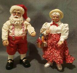 Clothtique Possible Dreams Mr. And Mrs. Santa Claus Christmas Figurines Basket