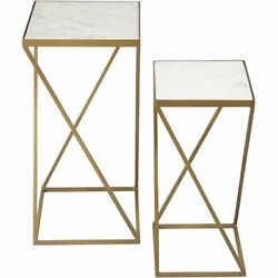 Renwil Modern Glamour Darby 2 Piece Marble Top Accent Table Set