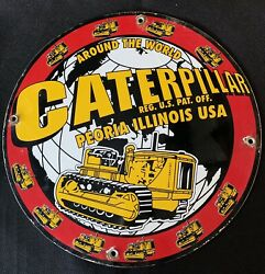 Vintage Style John Deere-caterpillar And039and039 Gas And Oil Plate Porcelain Sign 12 In