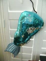 21quot; MERMAID TAIL DECOR REVERSIBLE PILLOW AQUA amp; GOLD SEQUINES.SHINY PADDED TAIL