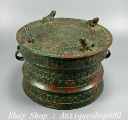 8 Old China Zhan Han Dynasty Bronze Ware Palace Frog Drum Instrument Statue