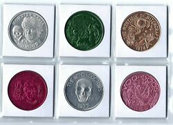 6 Witch Doctor Witchcraft Voodoo Gris Gris Snake Doubloon Coins Medal Tokens