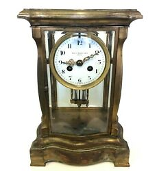 Shreve Crump And Low French Bow 4 Glass Crystal Regulator Mercury Mantle Clock