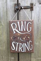 Vintage Fairground Circus Sign Ring On A String Game Hand-painted Oak Original
