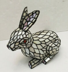 Vintage Stained Glass Sculpture Rabbit White Red Lamp Night Light Decor