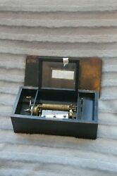 Antique Swiss Cylinder Music Musical Box In Inlaid Wooden Case No. 3064