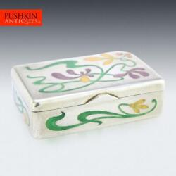 Antique 20thc Russian Solid Silver And Enamel Pill Box Ivan Khlebnikov C.1900