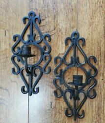 Pair of Wrought Iron Vintage Wall Sconces Candle Holders with gold colour flecks