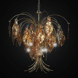 Chandelier Classic In Fused Glass Leaf Gold A 6 Lights Bga 2284-6