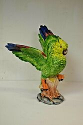 Chelsea House Porcelain Green Parrot Animal Figurine 11.5 - Made In Italy