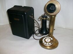 Antique Western Electric Brass Rotary Dial 323 Candlestick Telephone W/subset.
