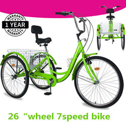 Tricycle Sport Trike 26and039and039 7speed Bike W/foldable Basket Andbackrest For Women Andmen