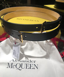 Nwt Alexander Mcqueen Black Leather Double Belt Sold Out Size 85