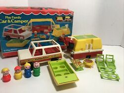 Vintage Fisher Price Little People Play Family Car And Pop-up Camper 992 In Box